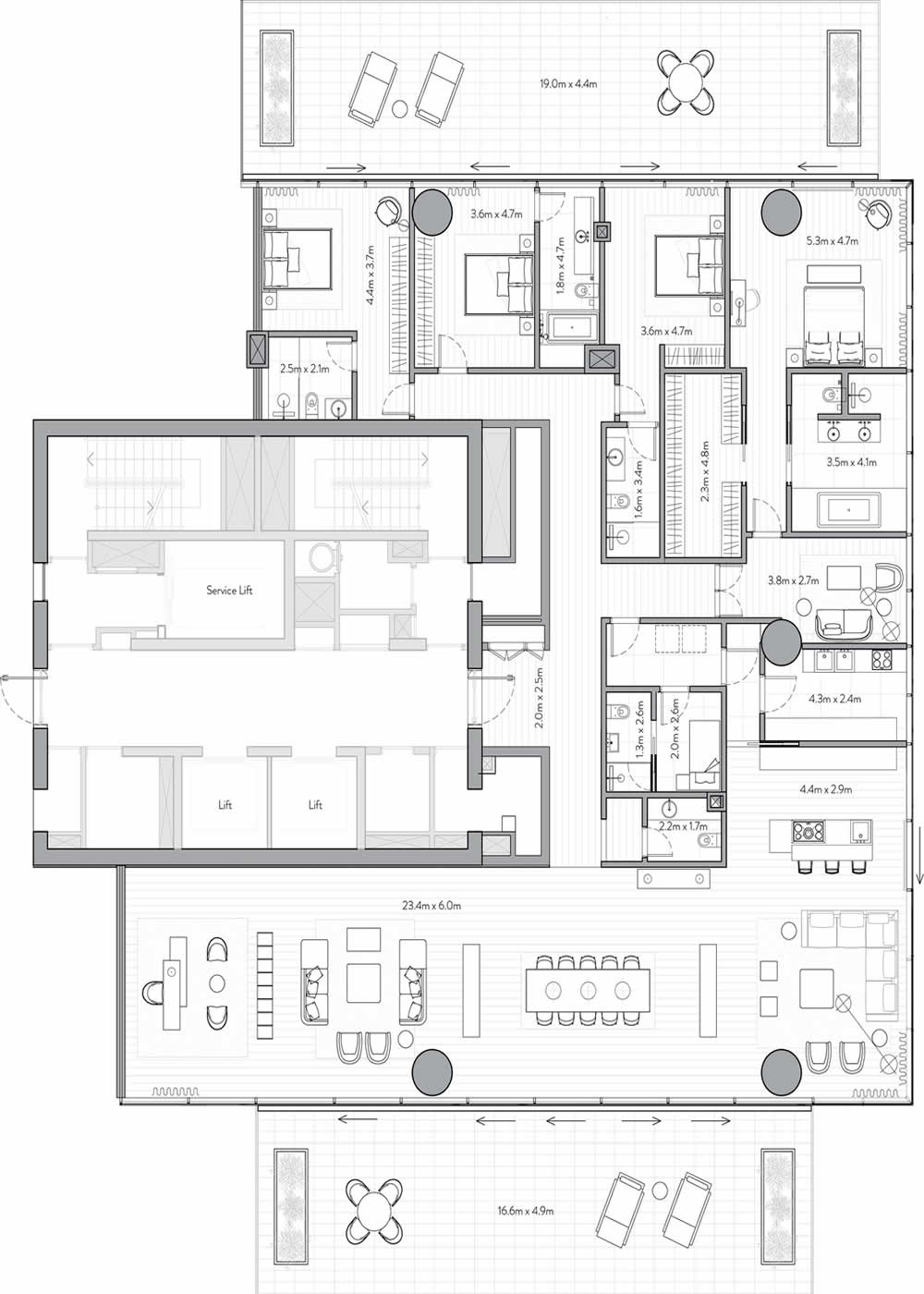 One Palm by Omniyat at Palm Jumeirah - 3 Bedroom Floor Plan