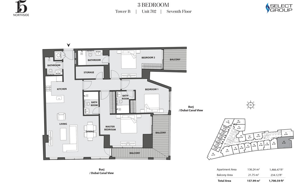 15 Northside by Select Group 3 Bed Room Plan